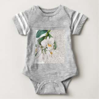 White Orchids Calligraphy Baby Bodysuit