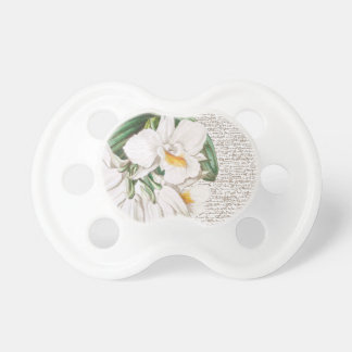 White Orchids Calligraphy Baby Pacifier