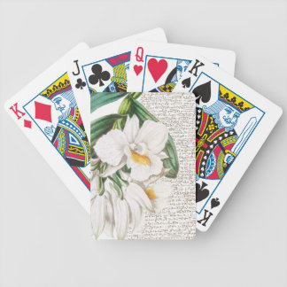 White Orchids Calligraphy Bicycle Playing Cards