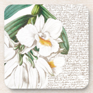 White Orchids Calligraphy Coaster