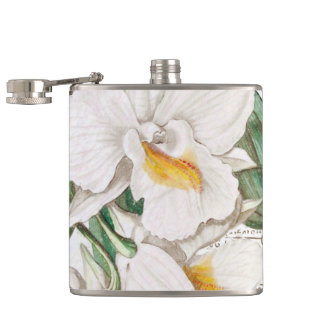 White Orchids Calligraphy Hip Flask