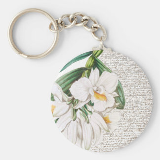 White Orchids Calligraphy Key Ring