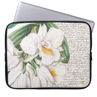 White Orchids Calligraphy Laptop Sleeve