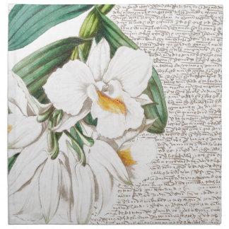 White Orchids Calligraphy Napkin