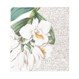 White Orchids Calligraphy Notepad