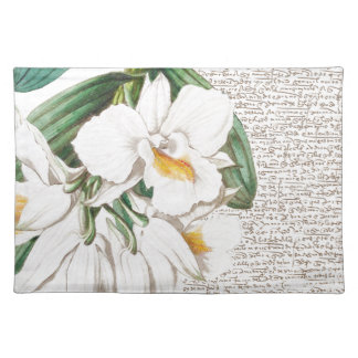 White Orchids Calligraphy Placemat