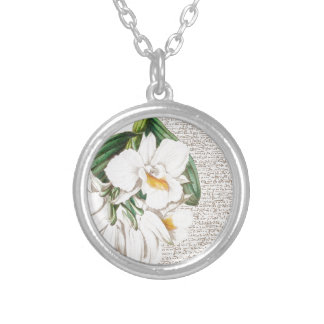 White Orchids Calligraphy Silver Plated Necklace