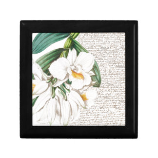 White Orchids Calligraphy Small Square Gift Box