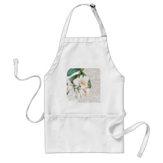 White Orchids Calligraphy Standard Apron