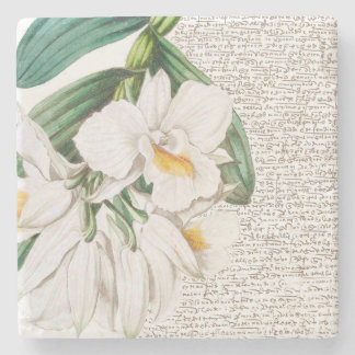White Orchids Calligraphy Stone Coaster