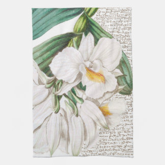 White Orchids Calligraphy Tea Towel