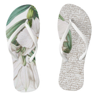 White Orchids Calligraphy Thongs