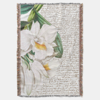 White Orchids Calligraphy Throw Blanket
