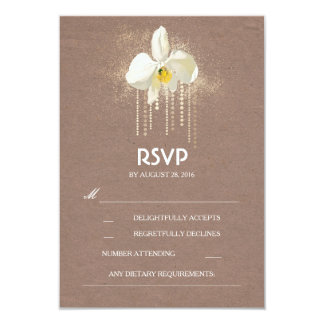White Orchids Gold Glam Wedding RSVP Card