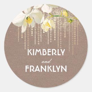 White Orchids Gold Glitter Vintage Wedding Classic Round Sticker