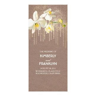 White Orchids Gold Glitter Vintage Wedding Program 10 Cm X 23 Cm Rack Card