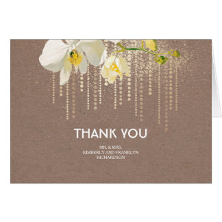 White Orchids Gold Glitter Wedding Thank You Note Card