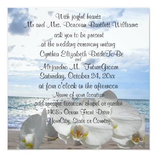 White Orchids Ocean Waves Wedding 13 Cm X 13 Cm Square Invitation Card