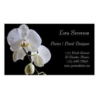 White Orchids on Black Business Cards