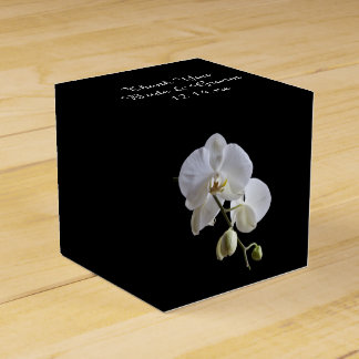 White Orchids on Black Wedding Favor Box Party Favour Boxes