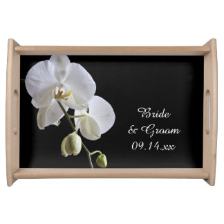 White Orchids on Black Wedding Serving Platters
