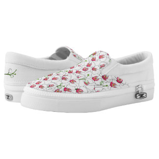 White orchids. printed shoes