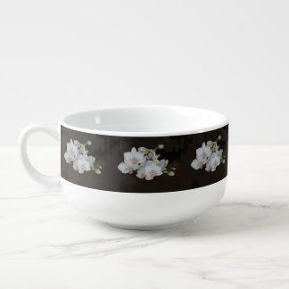 White Orchids Soup Bowl With Handle