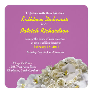 White Orchids Square Wedding Invitation Card