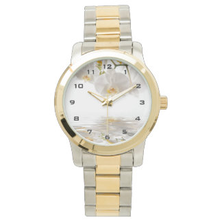 White Orchids Two-Tone Watch