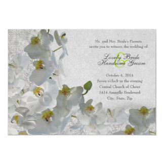 White Orchids Vintage Damask Wedding Invitation