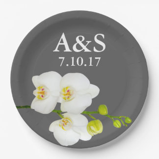 White Orchids Wedding Couple's Initials & Date 9 Inch Paper Plate