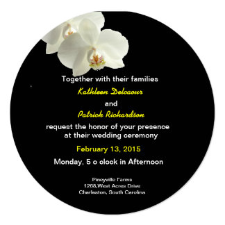 White Orchids Wedding Invitation Card