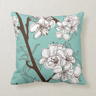 White Oriental Flower Branch Cushion
