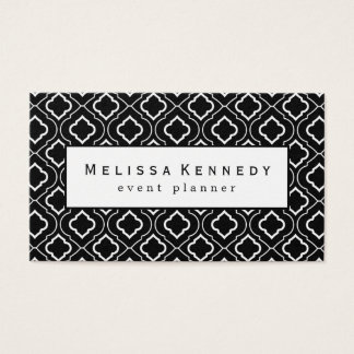 White Ornamental Pattern Business Card Black White