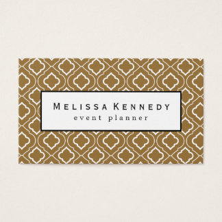 White Ornamental Pattern Business Cards Brown