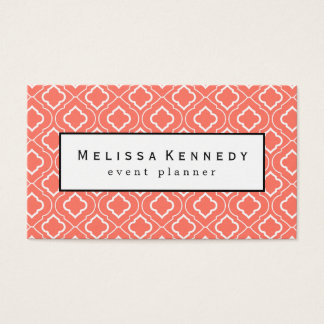 White Ornamental Pattern Business Cards Coral