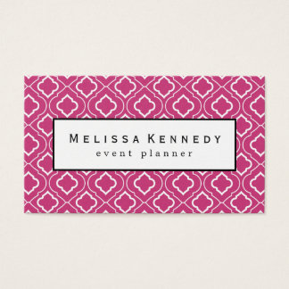 White Ornamental Pattern Business Cards Hot Pink