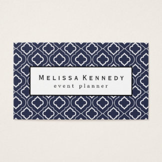 White Ornamental Pattern Business Cards Navy Blue