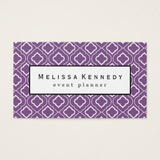 White Ornamental Pattern Business Cards Purple