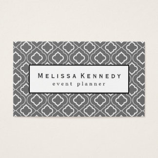 White Ornamental Pattern Business Cards Slate Gray