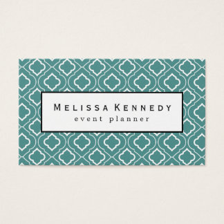 White Ornamental Pattern Business Cards Teal