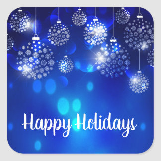 White Ornaments On Blue Happy Holiday Square Sticker