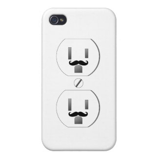 White Outlet with Mustache Design iPhone 4/4s Cover For iPhone 4