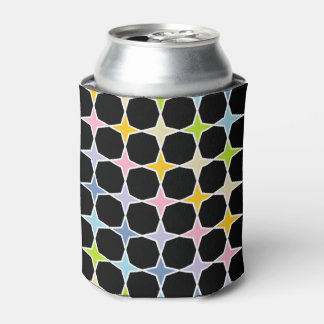 White Outlined Pastel Rainbow 4 Point Stars Can Cooler