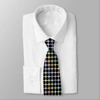 White Outlined Pastel Rainbow 4 Point Stars Tie