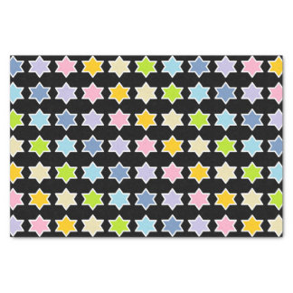 White Outlined Pastel Rainbow 6 Point Stars Tissue Paper