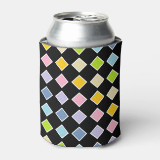 White Outlined Pastel Rainbow Diamonds Can Cooler