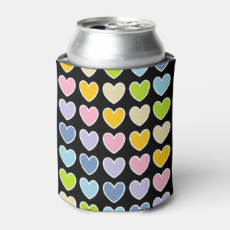 White Outlined Pastel Rainbow Hearts Can Cooler