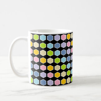 White Outlined Pastel Rainbow Hexagons Coffee Mug