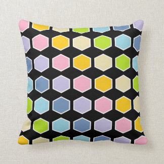 White Outlined Pastel Rainbow Hexagons Cushion